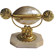 Ormolu MOP Mother of Pearl Palais Royale Gilt Metal Treasure Holder Egg Antique French