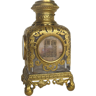 4 1/2 inch Palais Royale Perfume Bottle with 5 Miniatures of Paris  Napoleon III Ormolu Gilt metal Dore