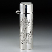 1908 Figural Engraved Sterling Silver Scent Perfume Bottle