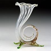 c.1930s Lampwork Miniature Footed Cornucopia Glass Vase, Bimini or Lauscha