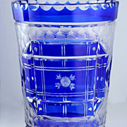 LATE 1930s 40s Webb England Blue Overlay Cut & Engraved Crystal Vase