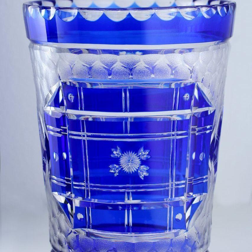 LATE 1930s 40s Webb England Blue Overlay Cut & Engraved Crystal Vase