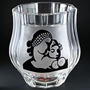 c.1950s Val St. Lambert Cameo Carved Crystal Art Vase By Charles Graffart, Signed