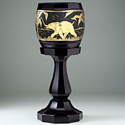 Tall c.1920s-30s Facet Cut Black Amethyst Glass Deco Vase with Animor Style Gilt ...