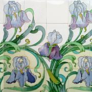 c.1905 Spectacular Hemiksem Belgium Art Nouveau 12 or 24 Tile Iris Panel, Multiple Panels Avai