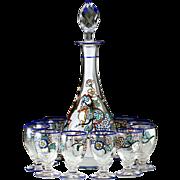 c.1930s Sèvres Landier Enamelled Decanter & Glasses Set