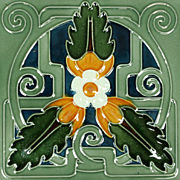 Three c.1905 Continental Art Nouveau Stylised Floral Tiles, Framed