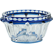c.1930s Val St. Lambert Blue To Clear Deco Crystal Meuse Bowl, Charles Graffart