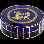 Rare c.1930s Val St. Lambert Danse De Flore Cobalt Glass Box & Cover
