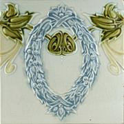 c.1900 DT. Ag German Art Nouveau Tile #2, Now Framed