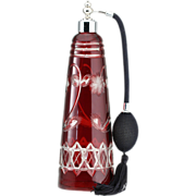 c.1920s Ruby Overlay Cut To Clear Crystal Scent Perfume Atomizer Spray