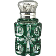 c.1890 Dutch Emerald Overlay Crystal Scent Perfume Bottle, Silver  Top