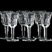 Set Of Six Moser Pope Cut Crystal Wine Glasses