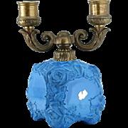 1930s Ingrid Deco Lapis Glass Double Candleholder, Schlevogt Czechoslovakia