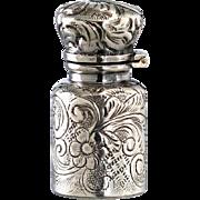 SOLD c.1900 Foliate Embossed Miniature Silver Scent Perfume Bottle