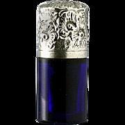 SOLD c.1880 Miniature Cobalt Glass Scent Perfume Bottle, Silver Top