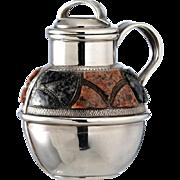 SOLD 1894 Silver Scent Perfume Bottle Jug Pitcher With Scottish Hardstone Decoration