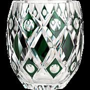 c.1950s Val St. Lambert Emerald Overlay De Vinci Crystal Vase