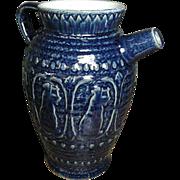 Fabulous Old Stoneware Batter Jug ~ Cobalt Blue Glaze