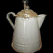 SALE Grandma's Great Old Gray Graniteware Coffee Boiler w. Lid & Bail Handle