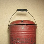Fabulous Early Old Metal Gasoline Can w Bail Handle, Stencil Advertising & Old RED Paint ~ 1890
