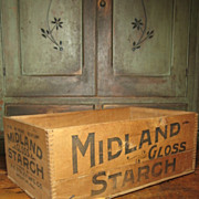 Large Old Wooden Advertising Crate Box – Midland Starch – Decatur, Illinois