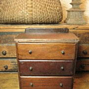 Sweet and Simple Small Old Child Sized Hand Made Wooden Primitive Chest w. Drawers