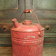 SALE Old Vintage Galvanized Metal Large Size Gas Can w. Bail Handle and Old Red Paint