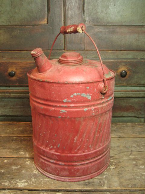 Old Vintage Galvanized Metal Large Size Gas Can w. Bail Handle and Old Red Paint