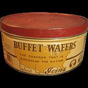 Large Old Round Vintage 'Buffet Wafers' Cracker Advertising Tin – J.S. Ivins' Son, Inc. – Philadelphia