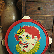 SALE Child's Tin Toy Tambourine – Clown Decoration