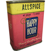 Old Vintage 'Happy Hour' Allspice Spice Tin – Paper Label Advertising