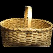 Granny's Beautiful Large Old Antique Oak Splint Farmhouse Gathering Basket