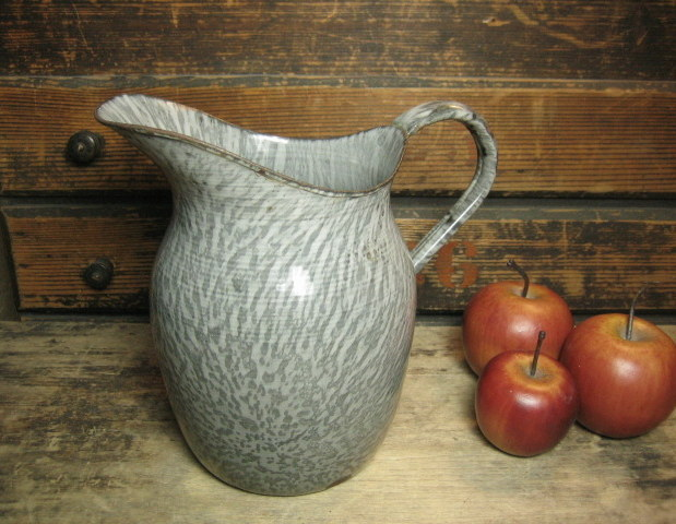 Sweet and Simple Old Gray Graniteware Farmhouse Kitchen Milk Pitcher