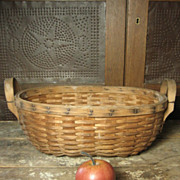 SALE Sweet Old Oval Ash Splint Farm Basket w. Bentwood End Handles – Unusual Smaller Size