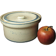REDUCED Great Grandma's Old Farmhouse Kitchen Stoneware Butter Crock w. Lid – Blue and Whi