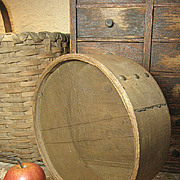 Old Primitive Round Wood and Mesh Farm Sieve Strainer