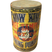 SALE Early Old Little Trial Size Free Sample SNOW KING Baking Powder Tin – Paper Label Adver