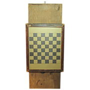 Awesome Old Antique Checkerboard Game Board Under Glass - Unusual