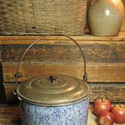 SALE Grandma's Awesome Old Large Sized Smokey Blue Swirl Graniteware Berry Pail