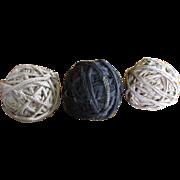 Group of Three Old Vintage Textile Rag Balls