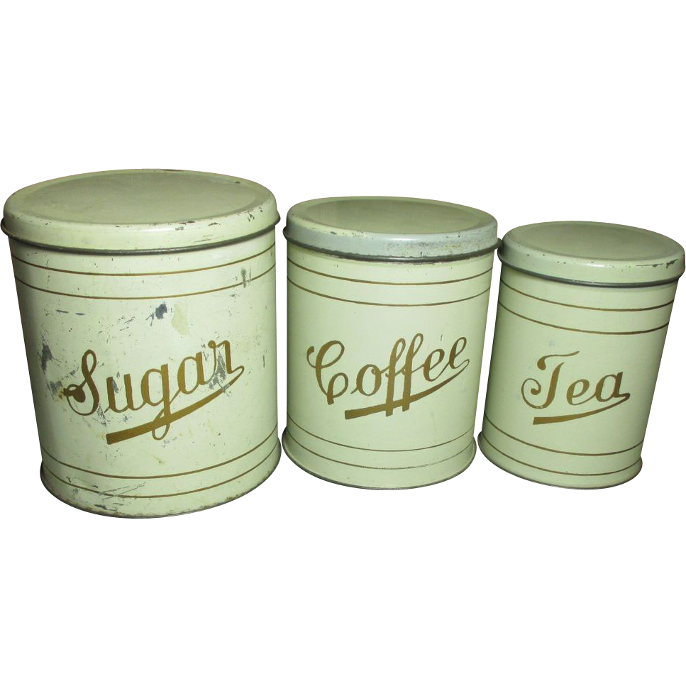 Great Old Set of Farmhouse Kitchen Metal Canisters from