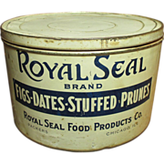 Large Old Vintage ROYAL SEAL Fig-Date-Stuffed Prune General Store Advertising Tin