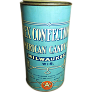 SALE Awesome Old REX Confections American Candy Co. Advertising Tin - Marked 1906