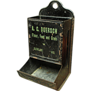 Old Vintage Tin Match Holder - A.C. Doersch - Flour, Food and Grain Advertising - Cleveland
