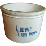 Wonderful Old Large Sized Bristol Glaze Stoneware Butter Crock - Ludwig Lane Dairy Advertising