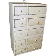 SOLD Granny's Large Old Hand Made 10 Drawer Apothecary Cabinet - Old White Paint