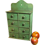 SALE PENDING Fabulous Early Antique Farmhouse Kitchen Spice Cabinet w. Best Old Dry Green Pain
