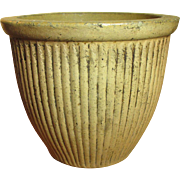 SOLD Grandma's Unusual Early Old Ribbed Stoneware Crock