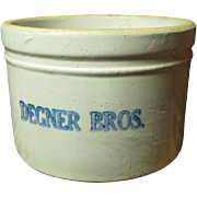 Old Vintage Small Sized Butter Crock - DEGNER BROS. - Advertising